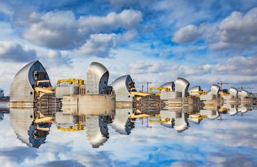 Thames Barrier reflected in the River Thames.
